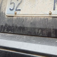 Can you see the artistic scene created from dust on the back of this car?