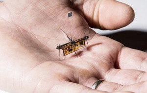 This insect-sized wireless robot flies with help of lasers