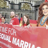 Outgoing Belfast lord mayor demonstrates for marriage equality outside her own city hall