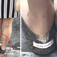 This woman's dog chewed her shoe to bits but she styled it out like a queen