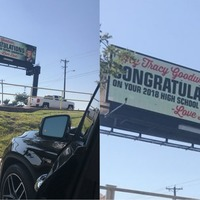 Dad uses giant electronic billboard to congratulate graduating son