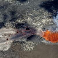 Lava flow on Hawaii's Big Island swallows district