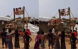 Children delight as refugees build Ferris wheels in Rohingya camps