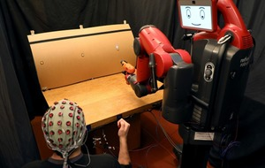 This robot performs actions controlled by human thought