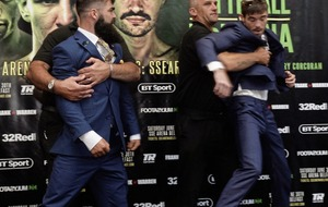 Feuding Dubs Jono Carroll and Declan Geraghty come to blows at pre-fight press conference