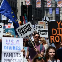 See the homemade protest placards held aloft as Trump visits the UK
