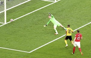 Belgium's Eden Hazard lights the way for Three Lions' hearse in World Cup third place play-off Picture by PA