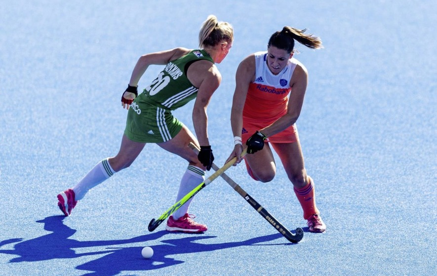 Netherland's Malou Pheninckx and Ireland's Chloe Watkins during the Hockey  World Cup Final.