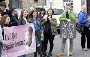 Hundreds of anti-abortion campaigners join event to mark the 50th anniversary of north's first civil rights march