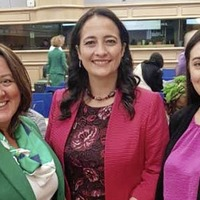 Paula Bradley and Megan Fearon attend meeting of female parliamentarians together in Dublin