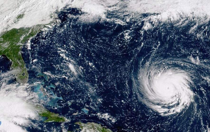 A satellite image shows Hurricane Florence as it threatens the US east coast