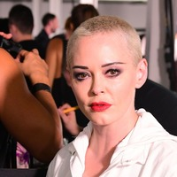 Rose McGowan walks in London Fashion Week show