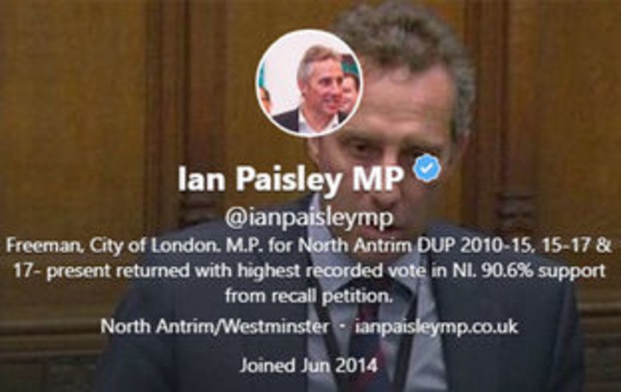 Ian Paisley changes Twitter bio to claim '90.6 per cent support from recall petition'