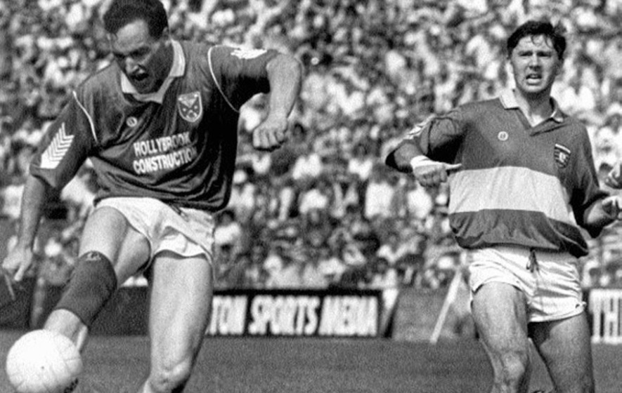 Positive Approach Mullahoran Player Coach Damien Oreilly Is Seen Here In His On Field Heyday Clearing His Lines Much To The Annoyance Of Donegals Martin