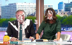 Piers Morgan gets pied in the face amid baby carrier debate