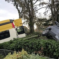 Minibus carrying school children crashed and flipped onto roof in Co Tyrone collision