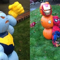 For Marvel fans, this Avengers-themed pumpkin scene has no chill