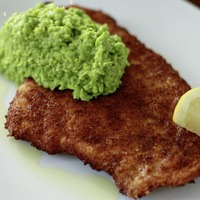 James Street South Cookery School: Chicken Escalope and Pea Puree & Fried Squid with Romesco Sauce