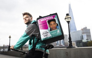 Deliveroo riders to display missing person posters on backpacks