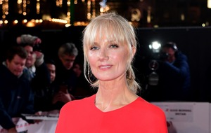 Joely Richardson in festive red at Surviving Christmas premiere