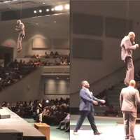 Watch 'the flying preacher' swoop in on cables to deliver his sermon
