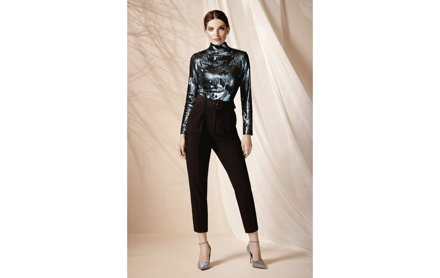 2838459c Wallis Green Sequin High Neck Top, £50; Black Belted Tapered Trousers, £35;  Glitter Pointed Court Shoes, £45, all Wallis