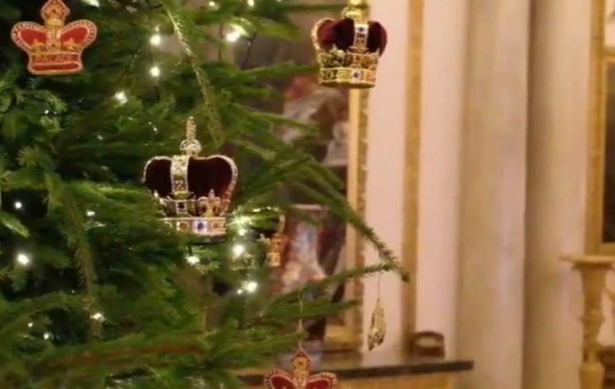 Christmas begins at Buckingham Palace as festive trees are