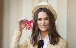 Keira Knightley picks up OBE at Buckingham Palace