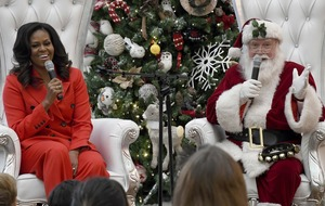 Michelle Obama performs Fortnite dance with Santa at children's hospital
