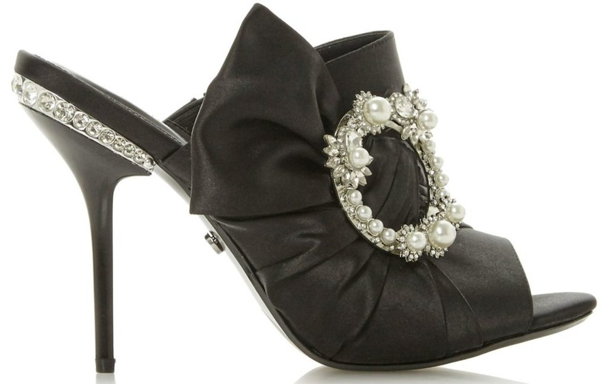 de0a550c53018 Dune Meila Black Satin Knot Pearl Brooch Mule Sandal, £99, available from  Dune.