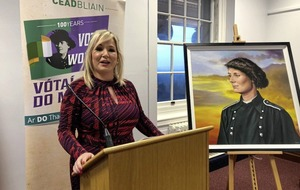 Michelle O'Neill unveils centenary portrait of Countess Markievicz
