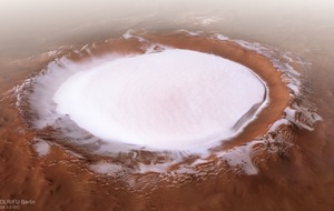 Giant ice-filled crater on Mars portrays idyllic wintry scene