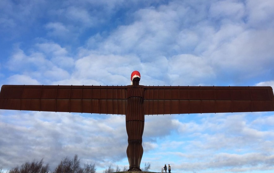 4c6bd41b16cc1 Santa hat appears on Angel of the North on Christmas Eve. The famous steel  structure had an ...