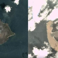 Satellite images reveal dramatic impact of volcano's collapse on island