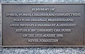 Husband of Omagh bomb victim adds plaque to memorial blaming `dissident republican terrorists'