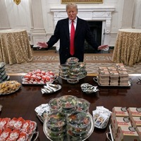 President Donald Trump lays on fast food feast in White House for champion college American football team