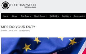 'Do your duty': Non-league Boreham Wood urge MPs to vote down Brexit deal