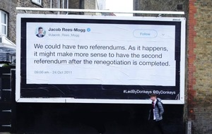 Brexit group posts huge billboards of MPs' quotes around Dover