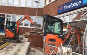 Man on digger smashes up new Travelodge 'on day of completion'