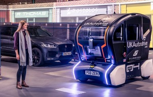Jaguar Land Rover tests self-driving pod that projects light to show intentions