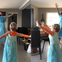 Father and four-year-old son film fun tribute to Frozen in matching costumes