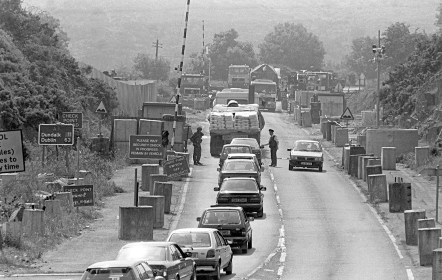 A border checkpoint at Newry in 1992
