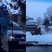 Commuters turn to skis as Manchester is blanketed in snow