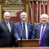 Assembly speaker Robin Newton and Ceann Comhairle Sean Ó Fearghaíl come together for Dáil centenary event