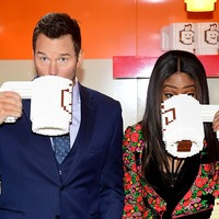 Chris Pratt and Tiffany Haddish drink from Lego mugs at pop-up cafe