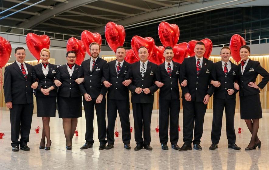 British Airways staffs flight with couples to mark