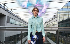 Liam Gallagher's lookalike son Lennon models futuristic fashion