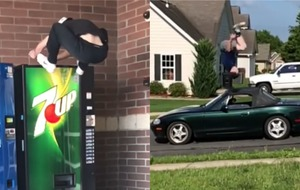 Watch: Gravity-defying jumper leaps onto vending machines and over cars