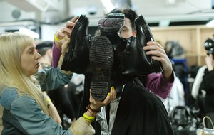 Boots on heads next trend, London Fashion Week show suggests