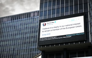 Huge billboard in Brussels to remind Theresa May she supported Remain